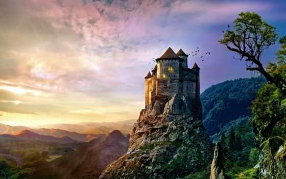 castle, iphone, гора, falls, aq, art, illustration, небо,