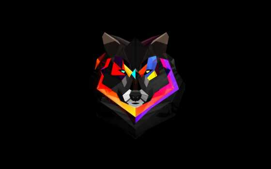 минимализм, art, углы, волк,