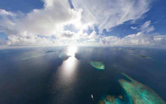 ocean, maldives, sun, oblaka, острова, горизонт, бескрайний,