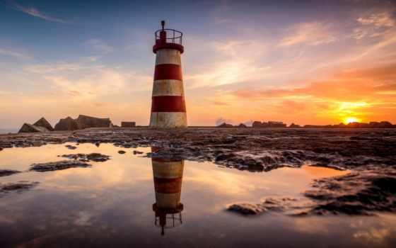 природа, море, lighthouse, povoa, закат, маяки, высоком, качестве, закаты, небо, lighthouses,