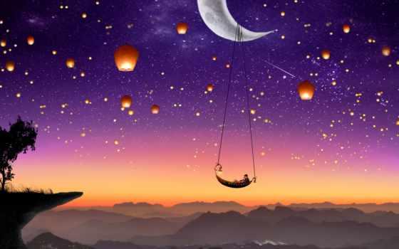 пара, fantasy, луна, desktop, nokia, dream, lanterns,