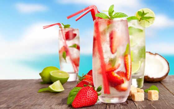 коктейль, glass, трубочка, пляж, напиток