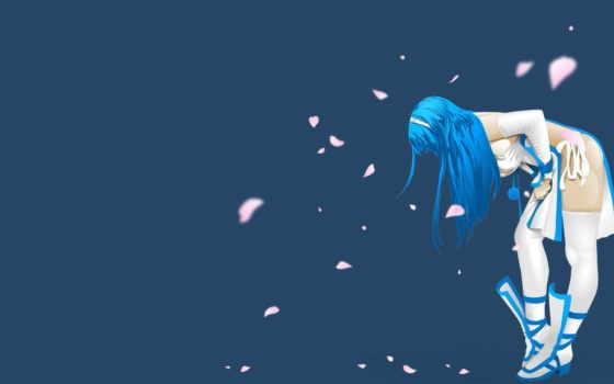 аниме, обои, девушка, anime, girl, сердечки, листь