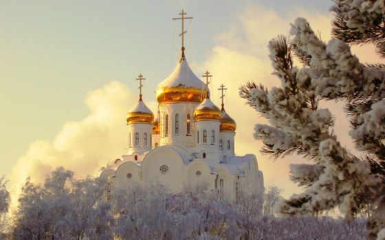 храм, снег