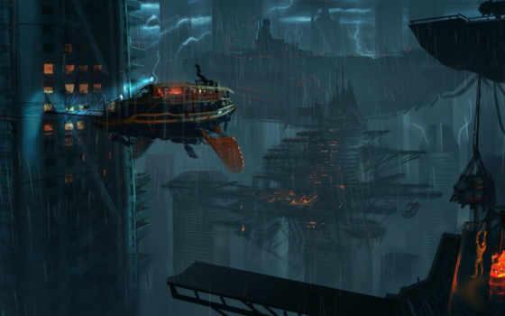 корабль, flying, дождь
