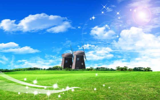 небо, зелёный, фон