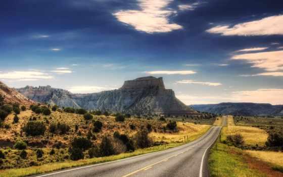 пустыня, дорога, каньоны, пейзажи -, пустыни, скалы, небо, трава,