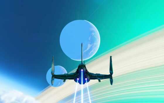 небо, мужчина, next, spaceship, planet, blue, зелёный, экран, game, fantasy, art