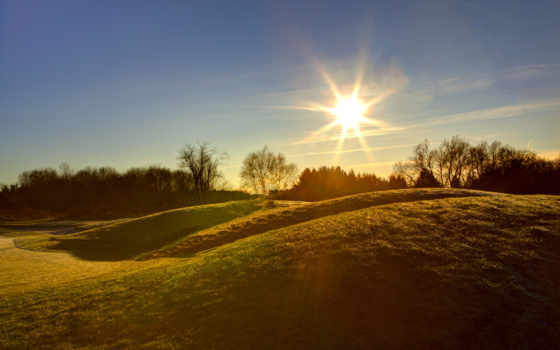 солнце, небо, рассвет, холмы, priroda, трава, svet, деревя, солнца,