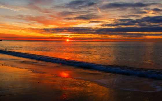 море, закат, sun