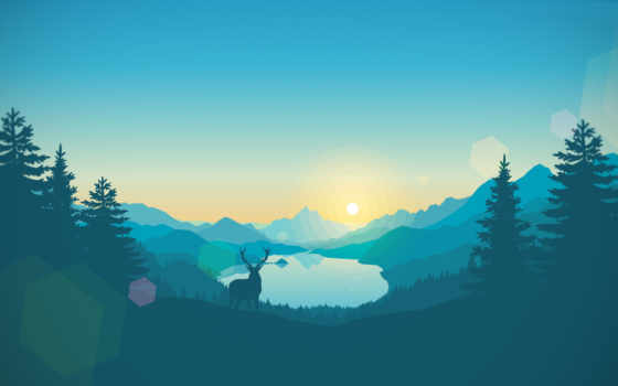 минимализм, лань, природа, понимает, тех, source, добавлено, blue, озеро,