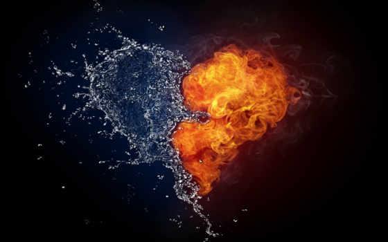сердце, огонь, water,