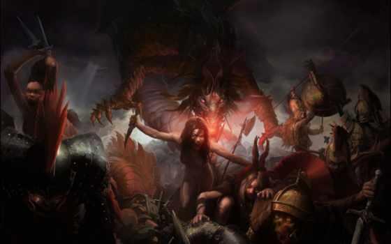 зомби, битва, кинжал, скелеты, дракон, devushki, змей,