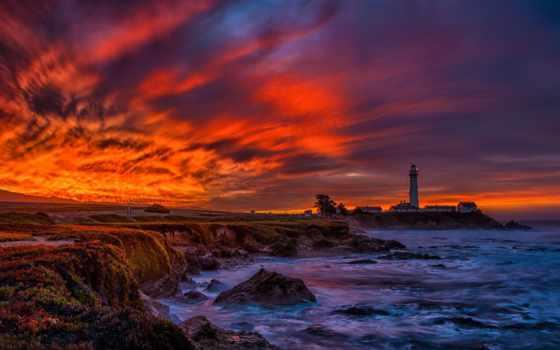 lighthouse, point, голубь, art, картинка, восход, живопись, paintings, home, стена,