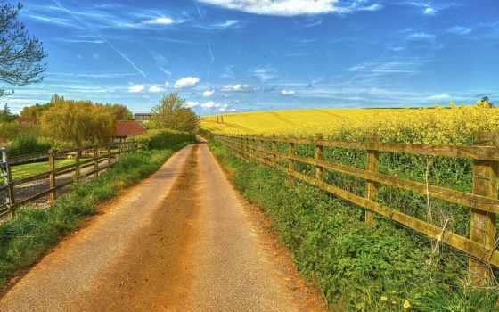 забор, поле, дорога, дома, landscape,