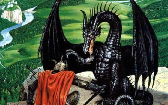 gif, дракон, рыцарь