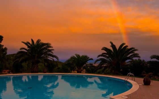бассейн, закат, palm, water, blue