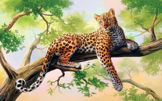 леопард, art, хищник, голова, кот, дерево, olggah, walldeco, drawing