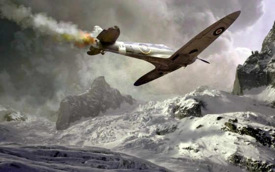 самолет, spitfire, подбитый, wallpaper, авария, download, война, hd, free, падение, спитфаер, дым, aviao,