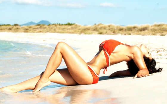 denise, milani, пляж, вода, девушки, купальник, девушка, кнопкой,