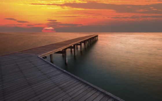 море, закат, pier, water, landscape, ocean, река,