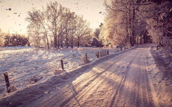 дорога, снег, winter, trees, зимняя, лес, нравится, снегу, falling,