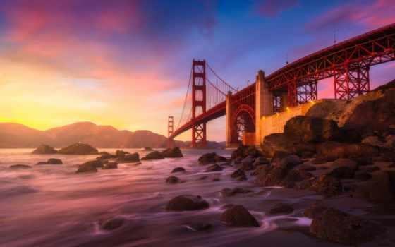 золотистый, gate, мост, закат, san, коллекция, francisco