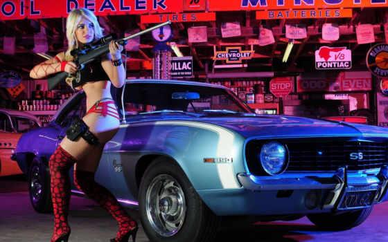 девушка, camaro, sexy, винтовкой, chevrolet, girls, gun, car, винтовка, девушки, action,