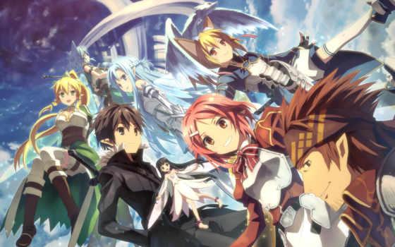 art, online, sword, anime, меча, curta,  Мастера меча,