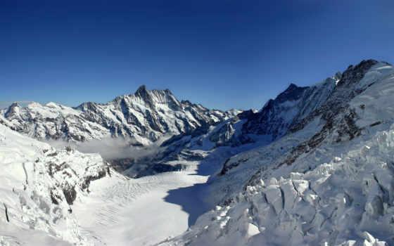 горы, зима, снег