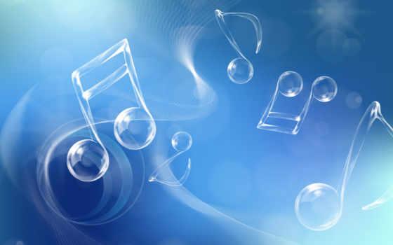 голубой, ноты, muzyka