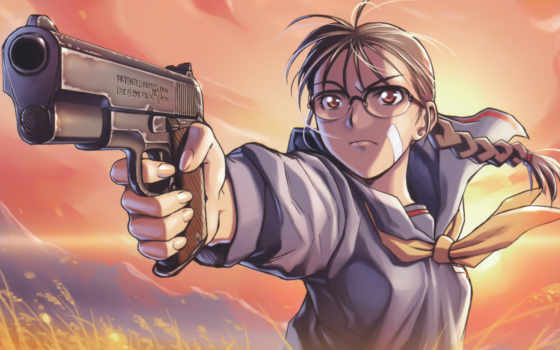 rei, hiroe, scans, anime, guns, girls, high, glass