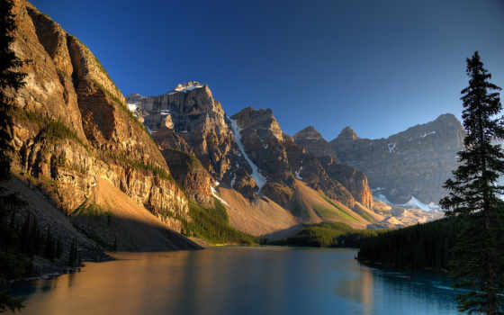 горах, озеро, закат