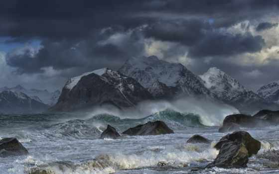 море, norwegian, лофотенские, норвегия, острова, горы, lofoten, islands, норвежское,