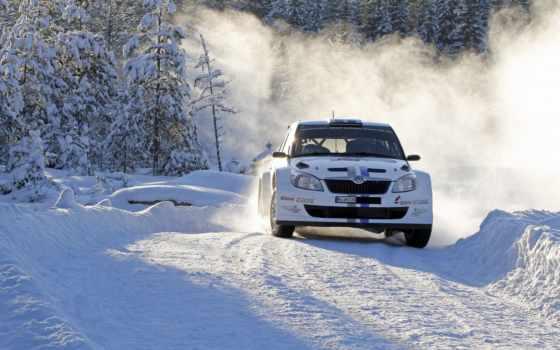 rally, снег, subaru
