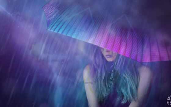 девушка, art, зонтик, дождь, cyberpunk, ночь, рисунок, neon, concept