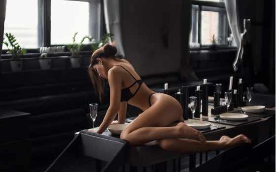 , черное белье, голая, lingerie,