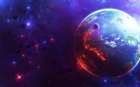 космос, planet, universe, land, star, фон, небо
