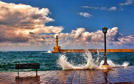 lighthouse, маяк, природа, брызги, небо, изображение, море, desktop, лавка, прибой, пирс,