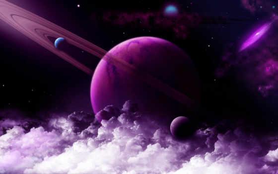 космос, звезды, планеты, облака, planet,