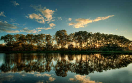 water, отражение, дерево, landscape, desktop, holstein, schleswig,