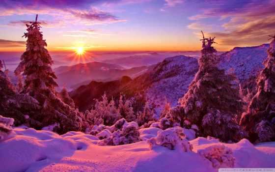 закат, winter, горы, снег, красивый, лес, trees, небо, ёль, горах,