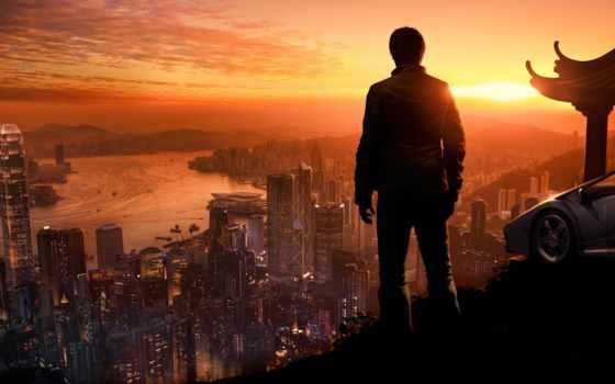 взгляд, крыша, город, крыши, мира, dogs, sleeping, авто, парень, найти,