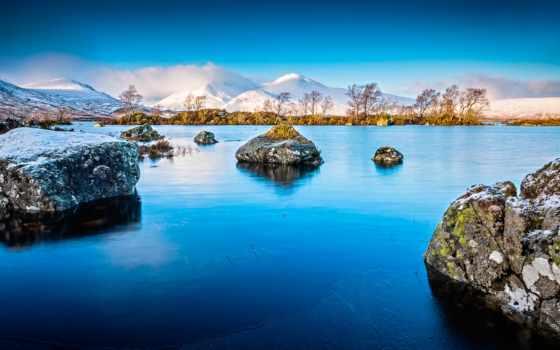 зима, горы, камни