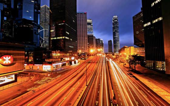 kong, hong, огни, город, ночь, улица, телефон, mobile,