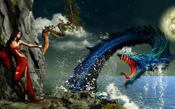 страница, море, дракон, драконы, девушку, змей, разных, sailboat, нападает,