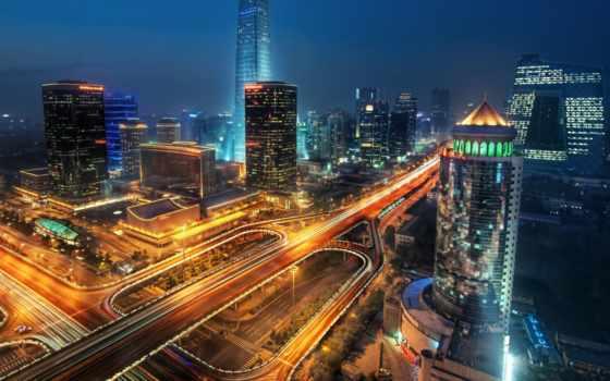 мегаполис, китаянка, ночь, авто, пейзажи, ночь, beijing, hour,