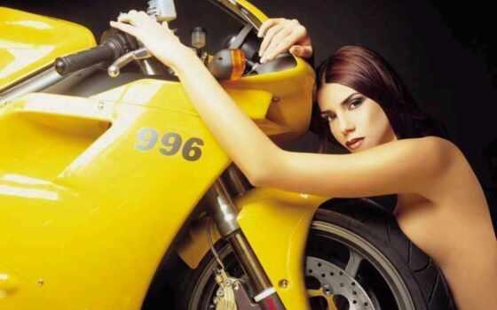 мото, девушка, drawing, мотоцикл, тематика, ecran, fond