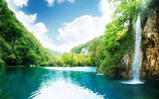 водопад, деревья, картинка, зелень, облака, река, лагуна, free, райское, nature, небоя, облока, голубая, горы, вода, место, картинку, falls,