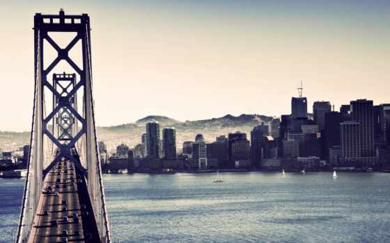 мост, san, франциско, калифорния, bay, дома, очень, янв,
